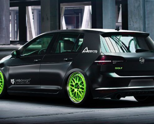 VW Golf 7 mbDESIGN LV1 8.5x19 ET45 Lemon Green poliert + 225/35R19